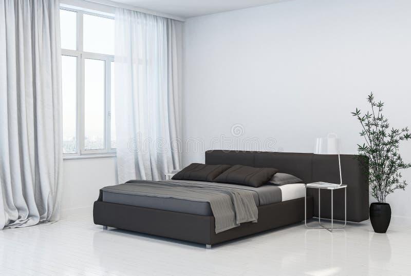 Chambre à coucher grise et blanche monochromatique élégante illustration libre de droits
