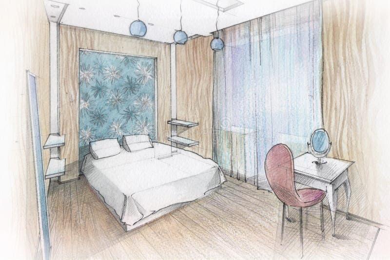Chambre à coucher intérieure illustration de vecteur