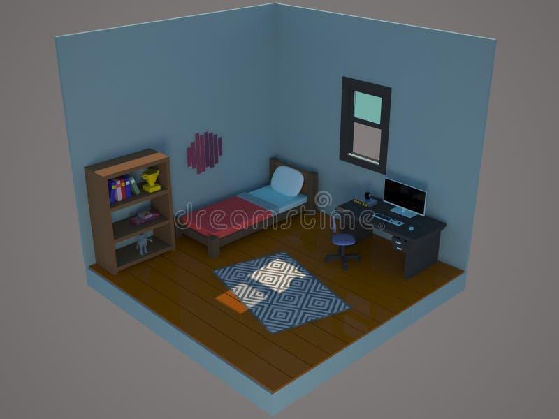 chambre à coucher intérieure Bas-polygonale 3d rendent photo stock