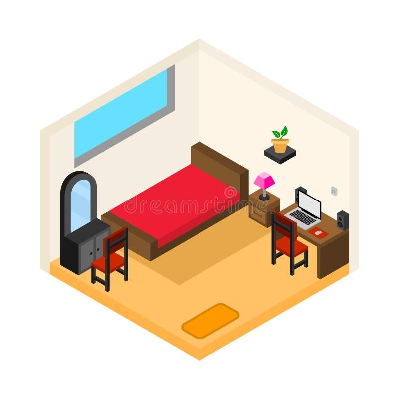 Chambre à coucher isométrique avec le vecteur de table de fonctionnement illustration de vecteur