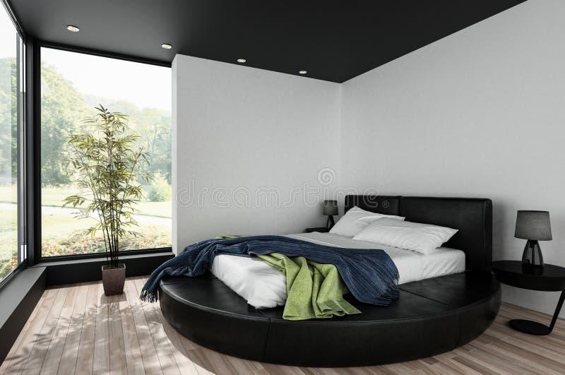 Chambre à coucher minimaliste avec le double lit rond illustration de vecteur