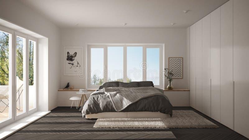 Chambre à coucher minimaliste blanche et grise scandinave avec la fenêtre panoramique, le tapis de fourrure et le parquet en arêt illustration libre de droits