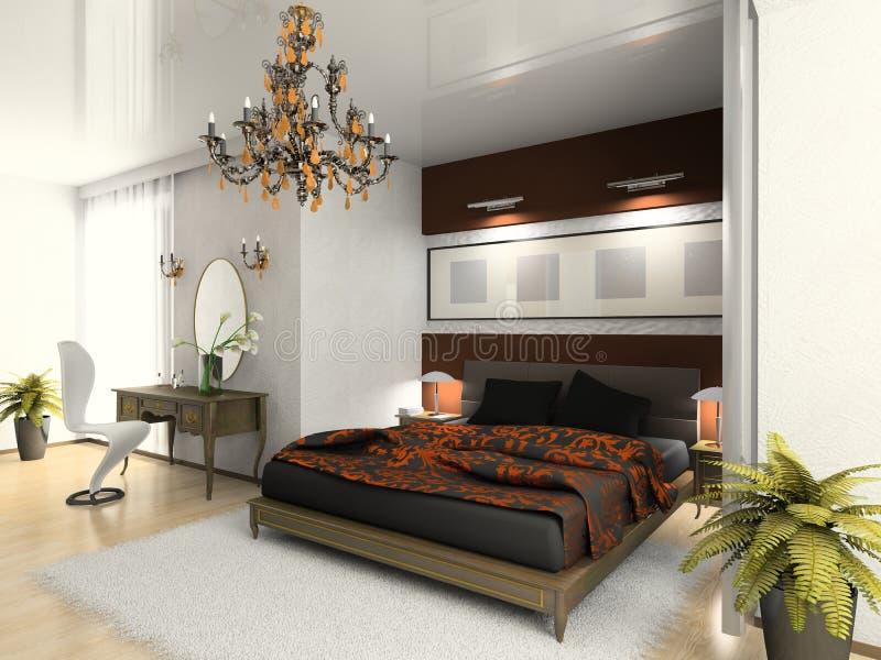Chambre à coucher moderne 3D illustration stock