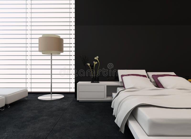 Chambre à coucher moderne avec le décor noir et blanc illustration libre de droits