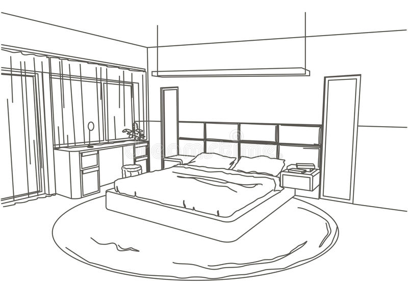Chambre à Coucher Moderne Intérieure De Croquis Architectural ...