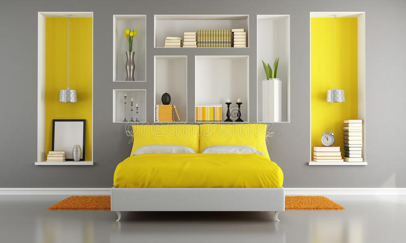Chambre à coucher moderne jaune et grise illustration stock