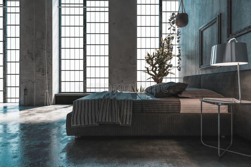 Chambre à coucher moderne spacieuse dans une conversion de grenier illustration libre de droits