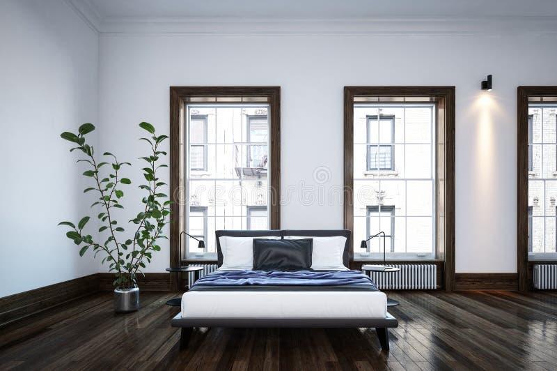 Chambre à coucher noire et blanche minimaliste spacieuse ordonnée illustration de vecteur