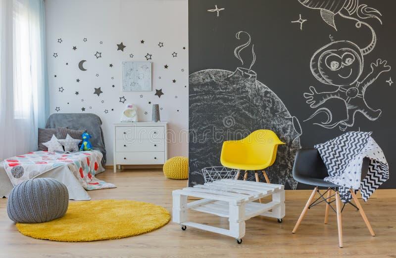 Chambre à coucher orientée de l'espace photo stock