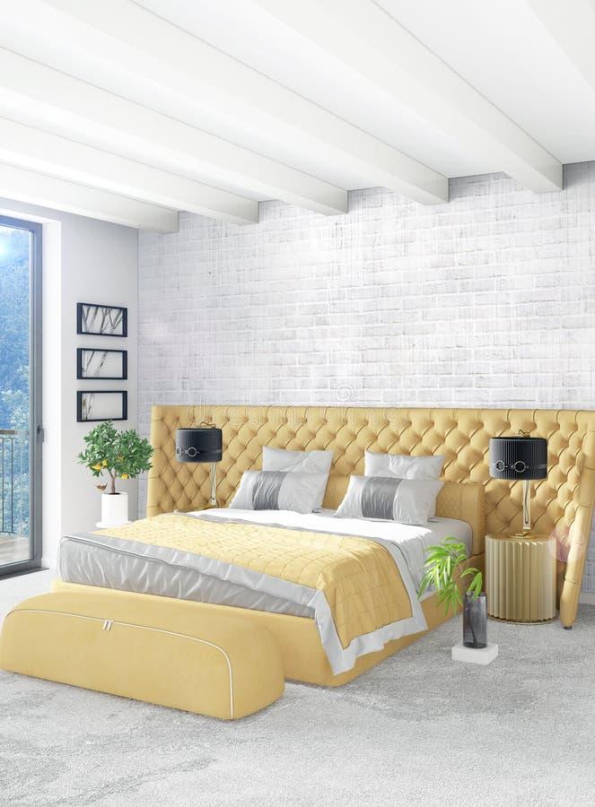 Chambre à coucher ou salon jaune dans la conception intérieure de style moderne avec le mur d'exsudation et les meubles élégants  illustration de vecteur