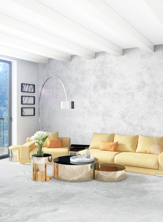 Chambre à coucher ou salon jaune dans la conception intérieure de style moderne avec le mur d'exsudation et les meubles élégants  illustration libre de droits