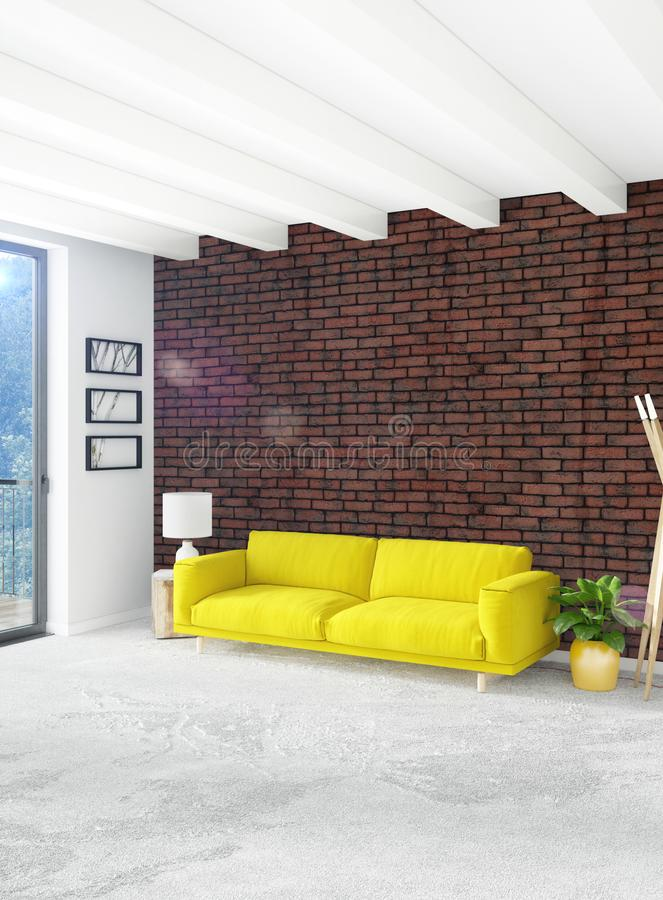 Chambre à coucher ou salon jaune dans la conception intérieure de style moderne avec le mur d'exsudation et les meubles élégants  illustration stock