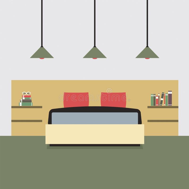 Chambre à coucher plate de double de conception illustration libre de droits