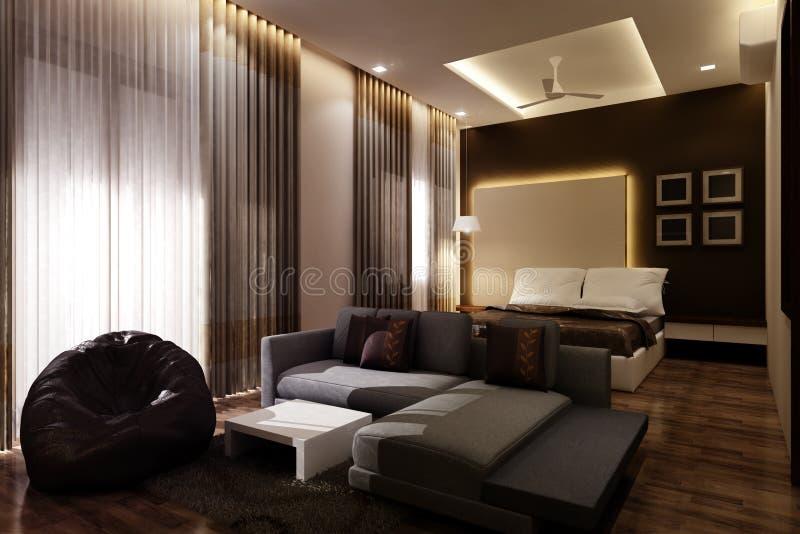 Chambre à coucher principale 3D photos libres de droits