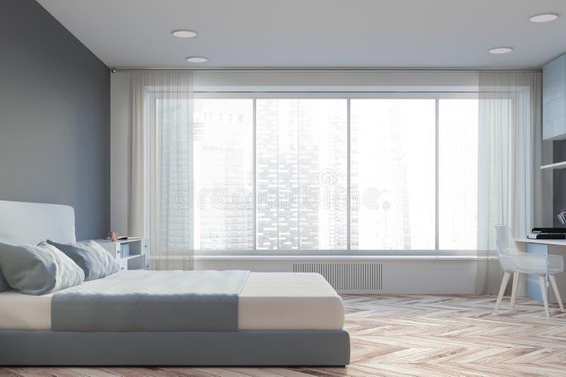 Chambre à coucher principale grise intérieure avec le siège social illustration de vecteur