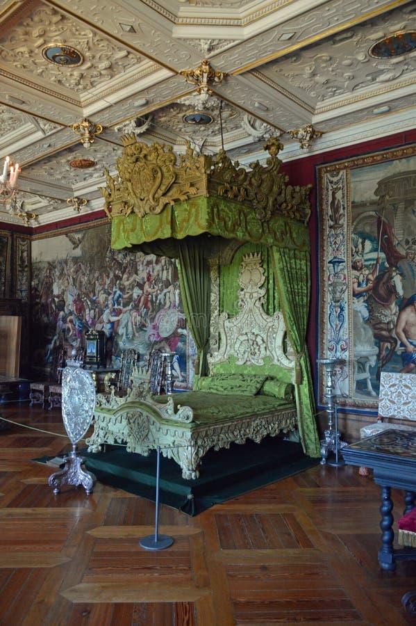 Chambre à coucher royale - intérieur - château de Frederiksborg images libres de droits