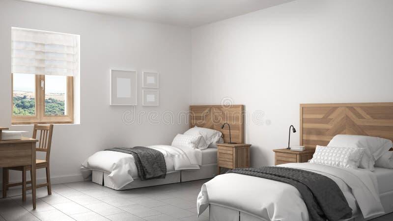Chambre à Coucher Scandinave De Vintage Avec Deux Lits, Style Ancien ...