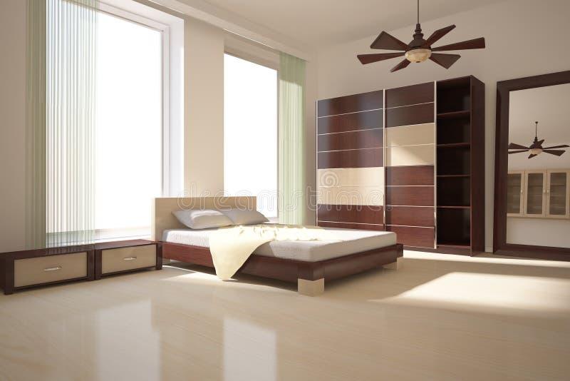 Chambre à coucher verte illustration de vecteur