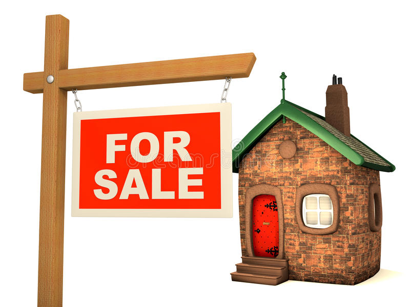 Chambre 3D et signe à vendre illustration stock