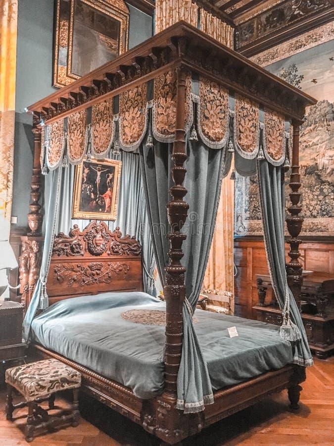 Castle / Château de Brissac. Chambre au Château de Brissac The Castle of Brissac - inside the bedroom royalty free stock images