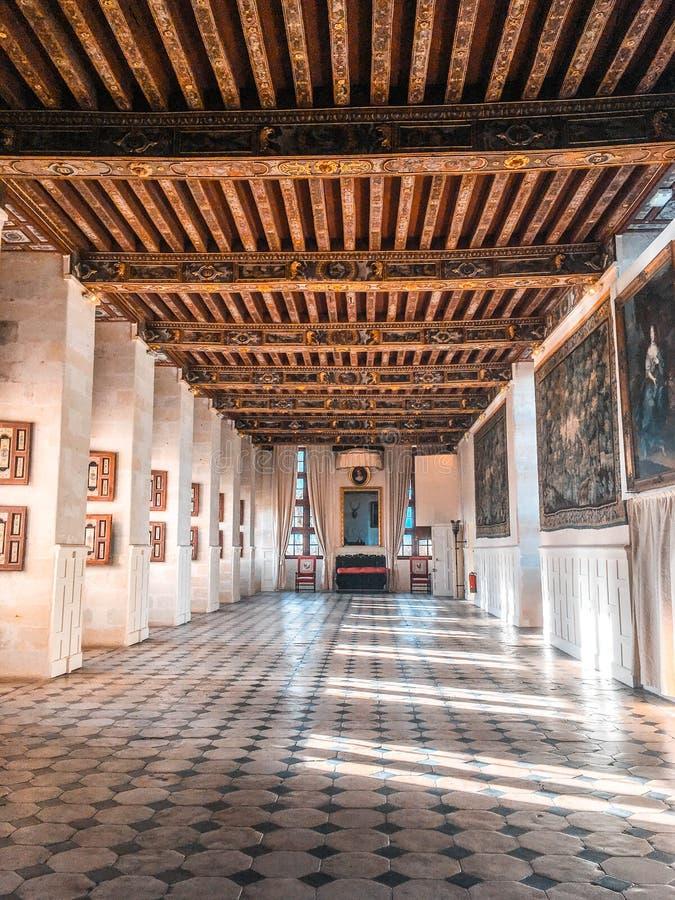 Castle / Château de Brissac. Chambre au Château de Brissac The Castle of Brissac - inside the castle and the gallery stock images