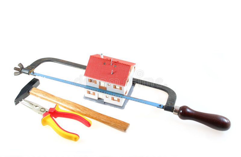 Chambre avec des outils d'une construction image libre de droits