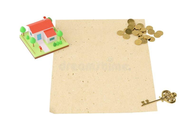 Download Chambre Avec Des Pièces De Monnaie Et La Clé, Sur Le Vieux Papier Illustration 3D Illustration Stock - Illustration du home, forme: 87705485
