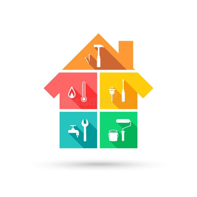 Chambre avec différents outils comme concept de construction et d'entretien illustration stock