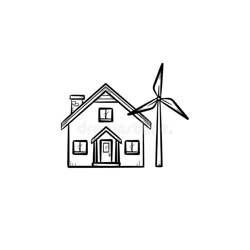 Chambre avec l'icône tirée par la main de générateur de vent illustration de vecteur