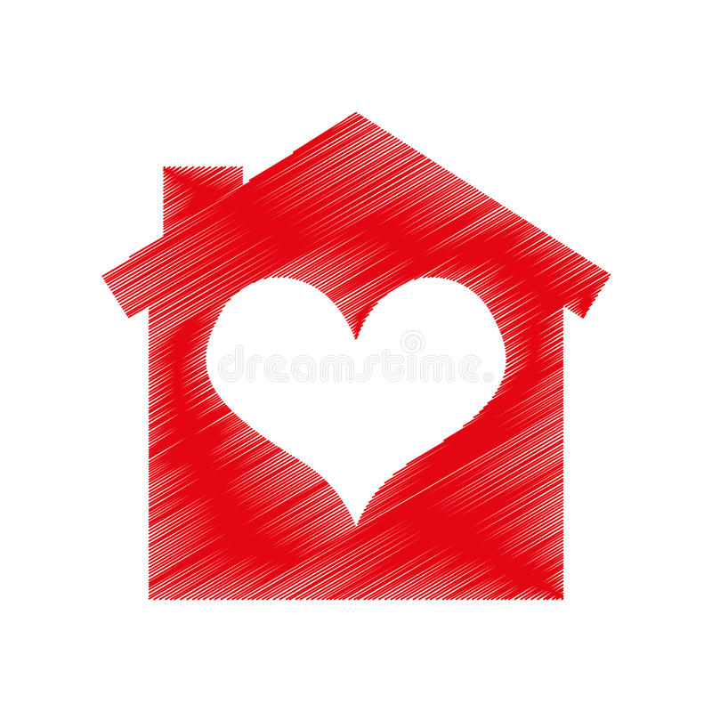 Chambre avec l'icône de coeur illustration de vecteur