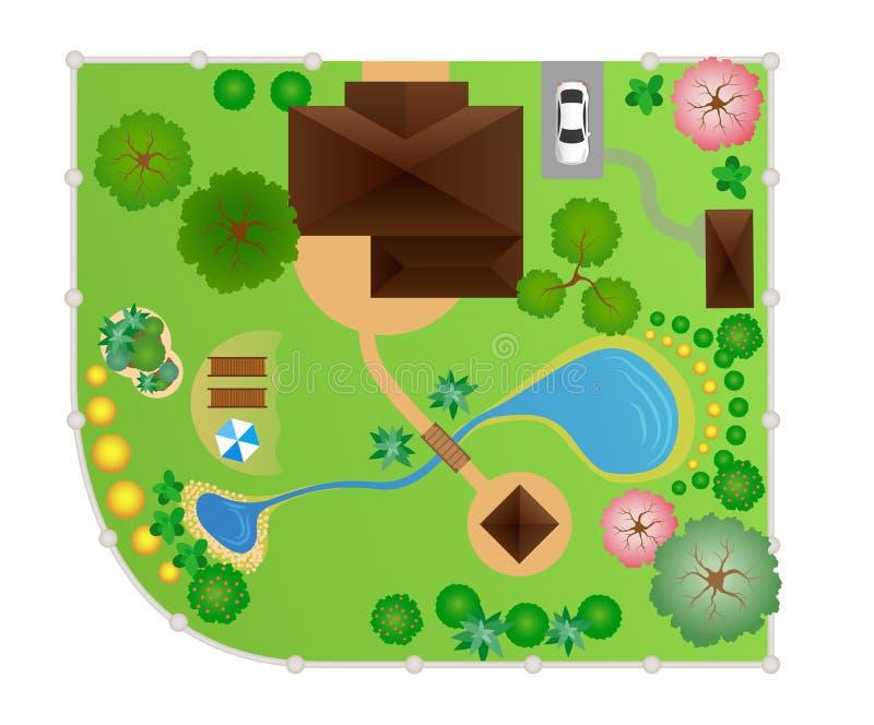 Chambre avec la disposition de jardin, vecteur illustration stock