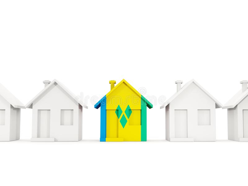 Chambre avec le drapeau du Saint-Vincent-et-les Grenadines illustration stock