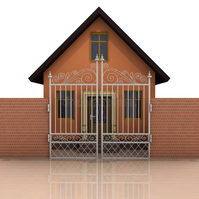 Chambre avec le mur de briques et la barrière fermée sur le blanc illustration libre de droits