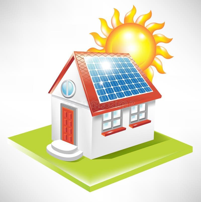 Chambre avec le panneau solaire illustration de vecteur