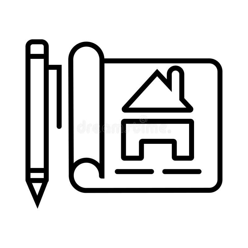 Chambre avec le symbole de stylo et de protection illustration libre de droits