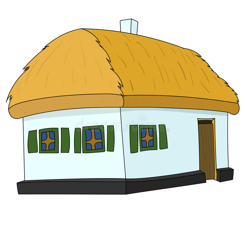 Chambre avec le toit couvert de chaume illustration de vecteur