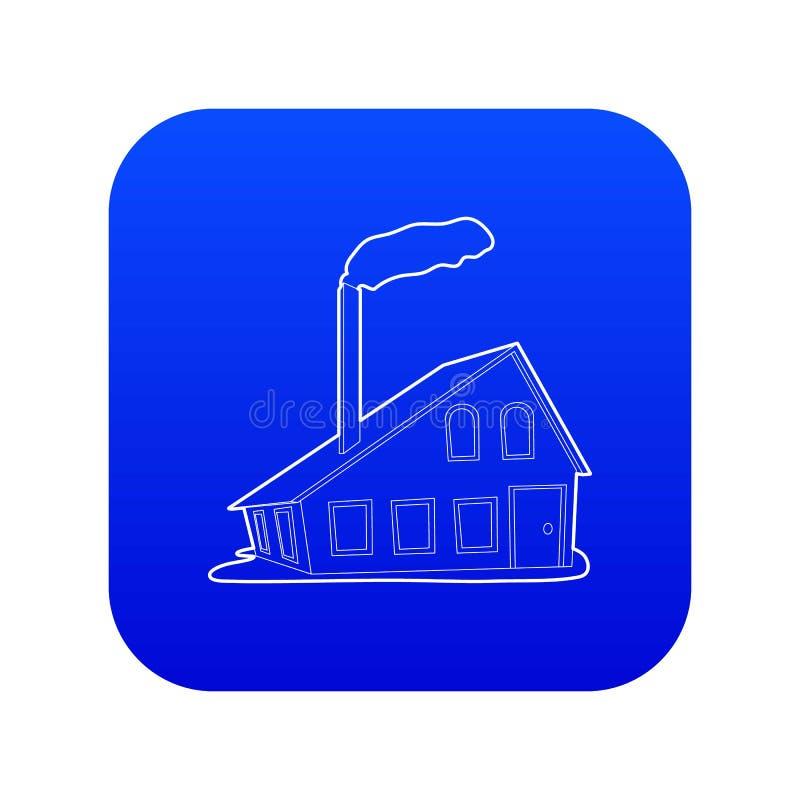 Chambre avec le vecteur bleu d'icône de cheminée illustration stock