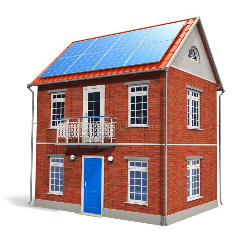 Chambre avec les batteries solaires sur le toit illustration stock