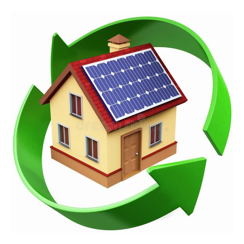 Chambre avec les panneaux solaires illustration stock