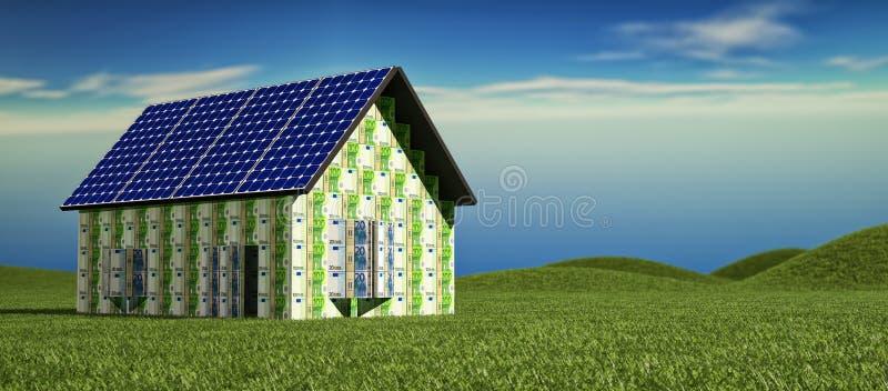 Chambre avec les panneaux solaires photos stock