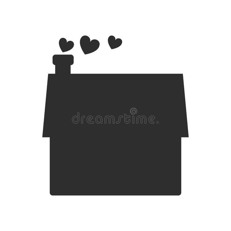 Chambre avec un signe et un symbole de vecteur d'icône de coeur d'isolement sur le fond blanc, Chambre avec un concept de logo de illustration stock