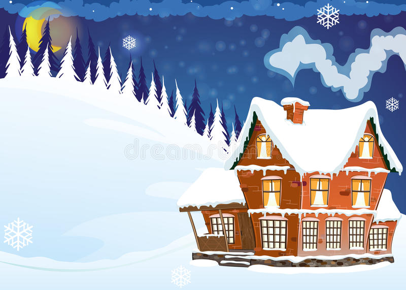 Chambre avec un toit couvert de neige illustration libre de droits