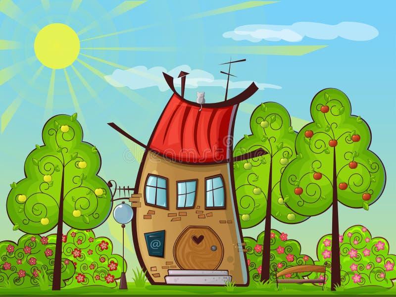Chambre avec un toit rouge image stock