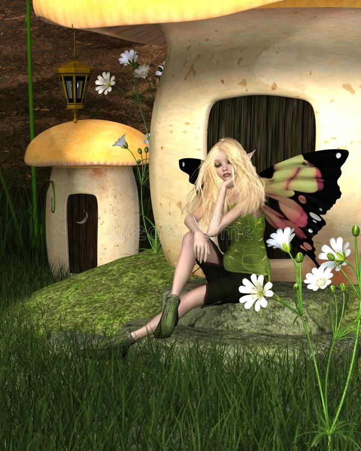 Chambre blonde de fée et de champignon illustration de vecteur