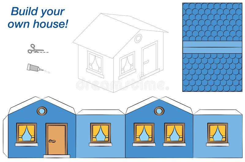 Chambre Blue modèle de papier illustration de vecteur