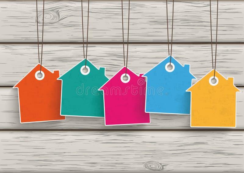 Chambre colorée par 5 d'autocollant des prix en bois illustration stock