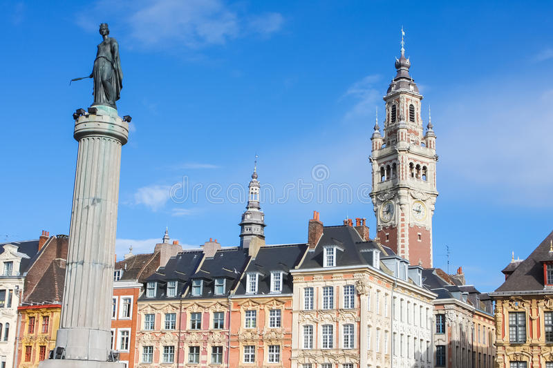 Chambre of Commerce and Statue and Column of Deesse (1845) in Li. Lle, France royalty free stock photos