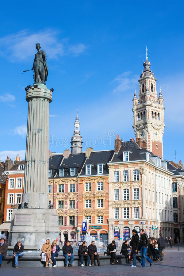 Chambre of Commerce and Statue and Column of Deesse (1845) in Li. LILLE, FRANCE - NOVEMBER 2, 2009: Chambre of Commerce and Statue and Column of Deesse (1845) at stock image