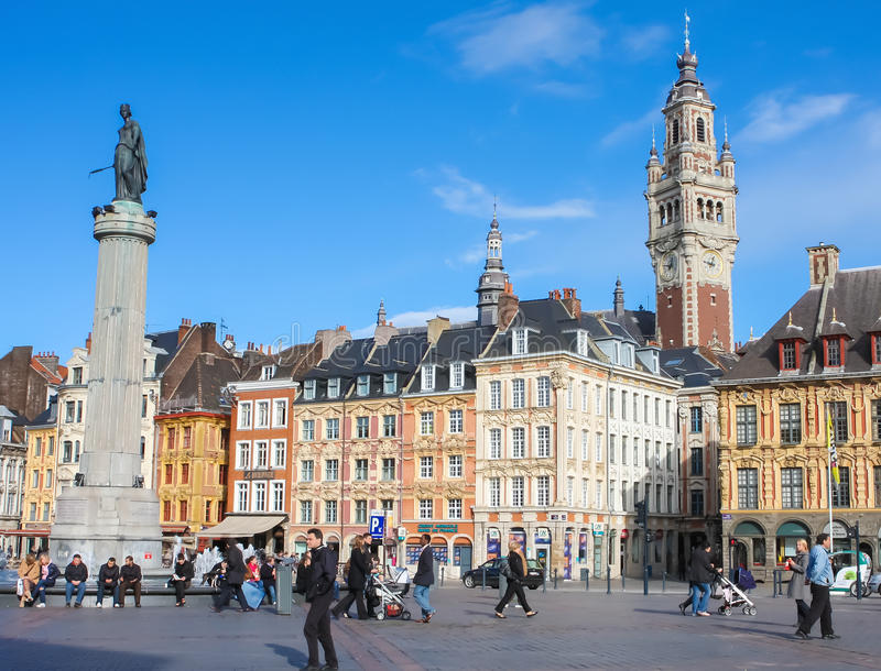 Chambre of Commerce and Statue and Column of Deesse (1845) in Li. LILLE, FRANCE - NOVEMBER 2, 2009: Chambre of Commerce and Statue and Column of Deesse (1845) at royalty free stock photography