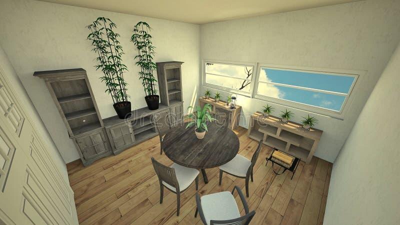 Chambre d'amis 3d rendant le style blanc à la maison illustration libre de droits